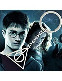 Blue Aura Harry Potter Deathly Hallows Logo Metal Key Ring Chain Keychain Collectible Gifting