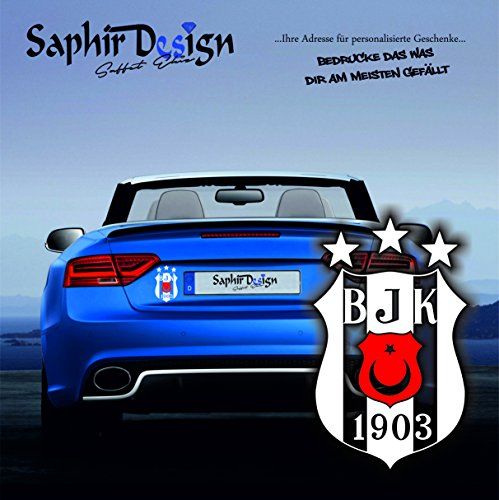 Original Besiktas 3Yildiz mit rotem Wappen / Türkiye / Sehr Coole Autoaufkleber / 10x15cm / A149 Farbe Weiss