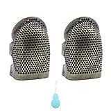 LumenTY 2 Stück Verstellbar rutschfest Vintage Kupfer Fingerhut Fingerschutz mit 1stück einem Kunststoff Nadel Einfädler für zum Nähen Basteln DIY Nähwerkzeuge Handarbeiten -Mittlere Größe