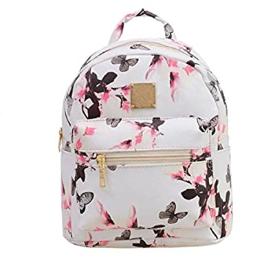 Ouneed Women Backpack Fashion Causal Floral Printing Leather Bag