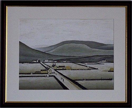 L S Lowry Spezialität Print/Bild-Rand der Moor-auf einem Leinen Struktur Medium, Walnut Finish Frame With Soft White Mount And Large Image, 20 x 16inch -