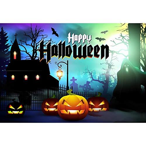 FANLU Hölzerne Wandflaggen des Vinyl glücklichen Halloween hölzerner Hintergrund für magisches Schloss Kürbis-Hintergrund der Fotografie,150X220cm