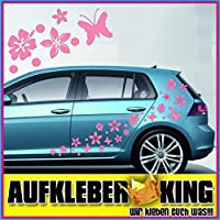 """Stickers Hibiscus """"Fiori e farfalle Set 75 pezzi"""" adesivo NB-0169-IT rosa"""