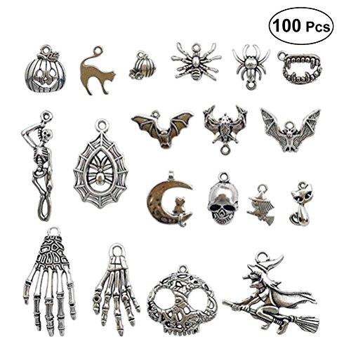 Vintage Skelett Silber tibetisches dekoratives Skelett Human Stil für die Halskette Armbänder mit Edelsteinen und Perlen DIY Basteln Mitbringsel von Halloween ()