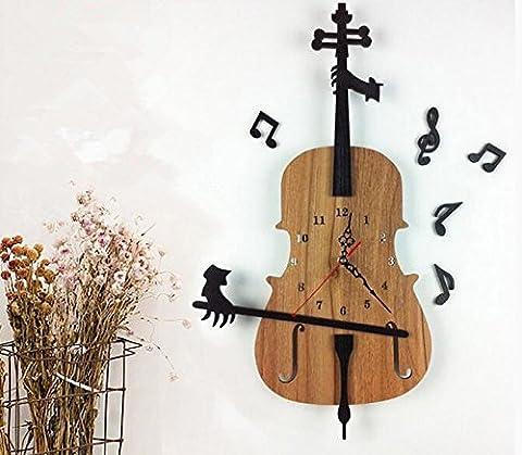 LFNRR Modern Creative Wohnzimmer uhren Kunst geformten Massivholz Schautafeln der Violine mute wall clock clock Schöne Dekoration