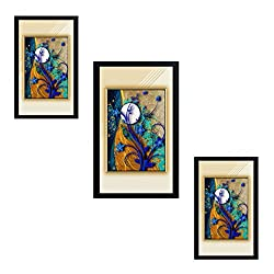 Jay Ganesh Frames, Digitally Printed Classic, Creative And Decorative Photo Frames/Wall Hangings For Home Decor, Full Moon Abstract Set With Black Frame, Size: Middle Frame-8X13 Inch, Side Frames-7X11 Inch(Multicolor)