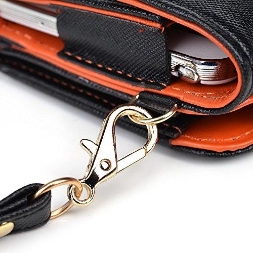 Kroo embrayage avec sangle de poignet et sangle de crossbody type portefeuille pour Samsung Galaxy Mega 6.3 multicolore noir et bleu Noir et orange