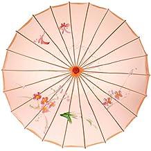 Sharplace Paraguas Transparente de Floral Parasol Distreza para Danza de Boda Accesorio de Mujeres - Naranja