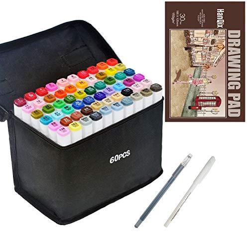 Marker Stifte Grafitti 60 Farbige Twin Tip Textmarker für Studenten Manga Kunstler Sketch für Sketch Marker Pens Set Mit Aufbewahrungstasche und A5-Markierungsfeld -