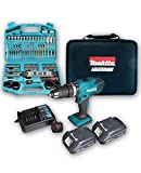 Makita HP457D 18 V Cordless Li-ion Combi Drill Kit and Accessory Set, 101 pc.