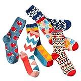 Lydreewam Unisex Socken hit Farbe Geometrie Muster Sock im 6er Pack,Mehrfarbig Wintersocken für Damen und Jungen