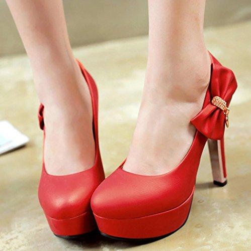 Da donna-Stivaletti-Formale Casual Serata e festa-Plateau-A cono Plateau-Finta pelle-Nero Blu Rosso Argento Red