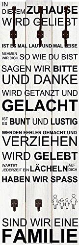 Artland Qualitätsmöbel I Garderobe Wandpaneele mit Motiv 45 x 140 cm Statement Bilder Sprüche Texte Schrift Kunst Weiß D8RT in Diesem Zuhause_weiß