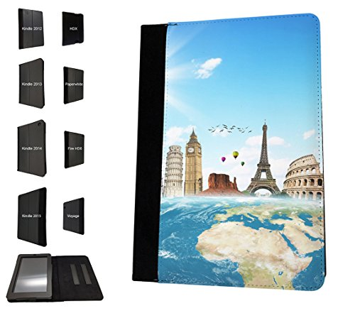 002973 - Travel World Map London America Paris Italy Rome Design Amazon Kindle Paperwhite 6'' 2014/2016 TPU Leder Brieftasche Hülle Flip Cover Book Wallet Stand halter Case