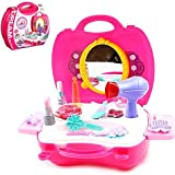 Pretend Play Makeup Kids Vanity Case Fashion Beauty Salon Set With Hair Dryer Mirror Scissors Hair Brush For Little Girls Toddler 21 Pcs