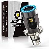 H4 LED per Moto con Occhi Angelo, 6400LM Lampada Abbaglianti e Anabbaglianti, DC 12V