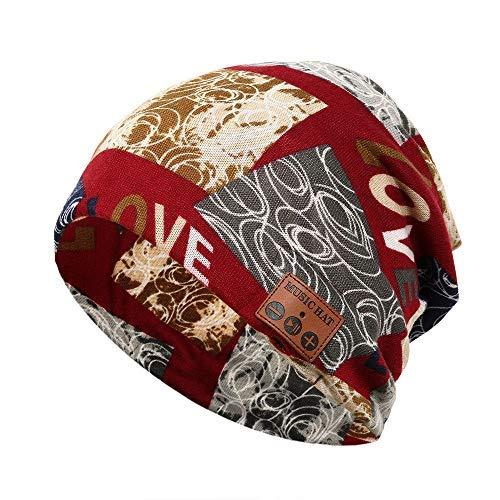 Enkrio Print Bluetooth Beanie Hip-Hop Snapback Hat Schal Motorrad Winddichte Kappe mit kabellosen Kopfhörern Headset Kopfhörer Stereo Lautsprecher Hände frei für Outdoor Sport Skifahren Snowboard