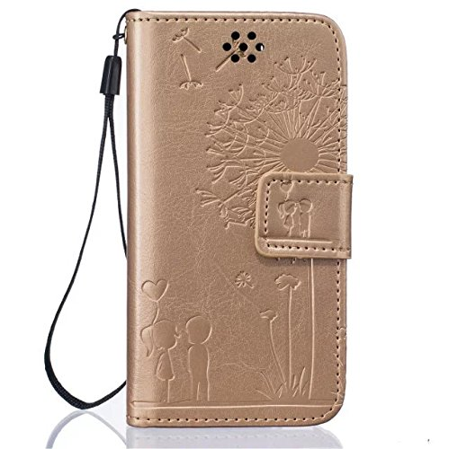 iPhone Case Cover Qualitäts-Premium-PU-Leder-Kasten-Abdeckung Solid Color Dandelion Embossing Mappen-Standplatz-Fall-Abdeckung für iPod Touch5 6 ( Color : Black , Size : IPod Touch5 6 ) Gold