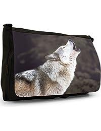 Wolf Wolves Large Messenger Black Canvas Shoulder Bag - School / Laptop Bag
