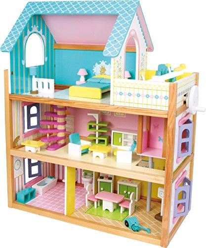 1557 Casa delle bambole Residence small foot in legno, con 3 piani, ascensore e balcone, incl. 23 mobili per bambole come accessori.