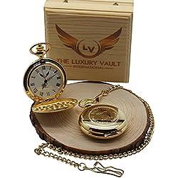 Free Engraving 24 Carat Gold Plated GEMINI Zodiac Pocket Watch Full Hunter Personalised Custom Engraved Star Sign