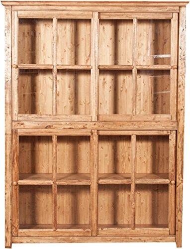 Bibliothèque créneau en Bois Massif de Tilleul avec Portes coulissantes, Finition Naturelle L154 x PR37 x H212 cm