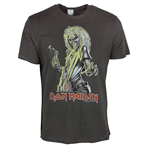 Amplified Herren Oberteile/T-Shirt Iron Maiden Killer Grau XL - Blut Head T-shirt