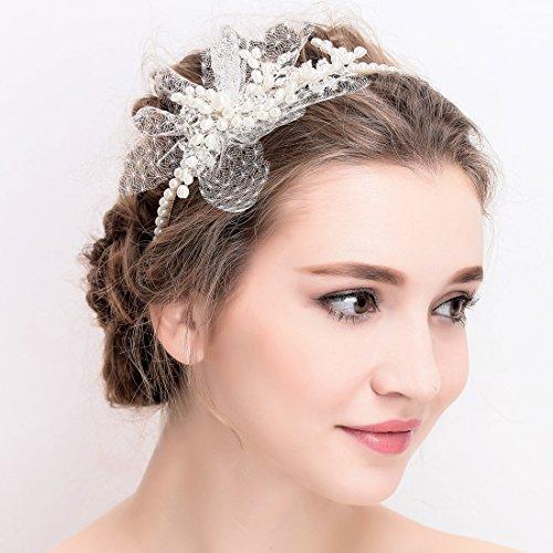 Vintage Elfenbein Tüll Bridal Tiara Strass Perlen Haarreif Hochzeit Prom Haarschmuck - 3