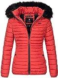 Navahoo Designer Damen Winter Jacke Steppjacke Stepp Winterjacke B655 [B655-Aran-Rot-Gr.L]