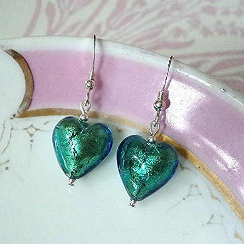 Diana Ingram sea green Murano glass small heart (13mm) earrings
