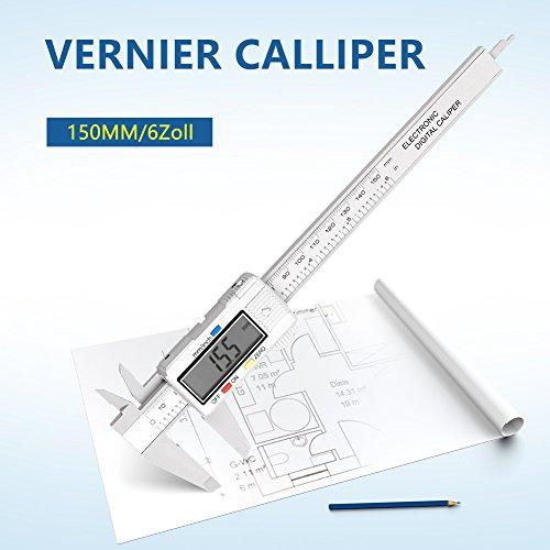Messschieber Digitaler Meßschieber 150mm / 6-Zoll Schieblehre mit Analog LCD Display für Abständen und Durchmesser, Elektronische Digital Noniusschieber Mikrometer (Skala Schienen Mit)