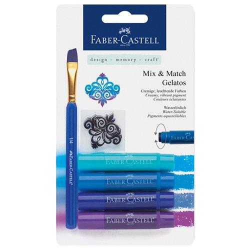Faber-Castell 121803 - Aquarellkreiden Gelatos mit Pinsel und Stempel, 4 Stück, blautöne