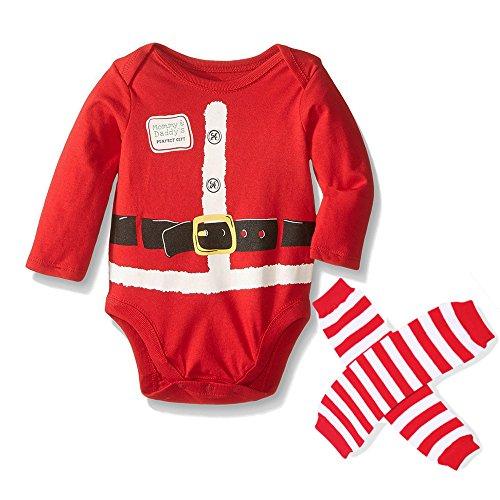Vine Baby Weihnachts Weihnachten kostüm lange Ärmel Strampler Weihnachtskostüm Weihnachten Jumpsuits Outfit + Socken Set Red (Red Jumpsuit Kostüm)