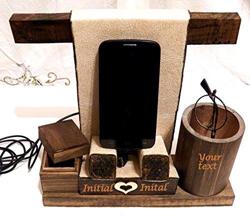 Personalizzata basamento telefono, regalo Idea Ufficio, telefono cellulare, stazione del caricatore, Station per Legno, Cellulare Desktop Tray