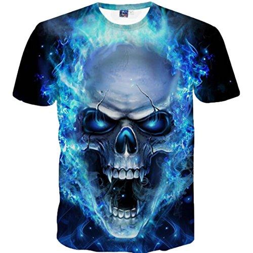 GreatestPAK Cotton T-Shirt Skull Printing Tees Shirt Short Sleeve T Shirt Blue Blouse Crew Neck Tops (Line Short Sleeve Tee)