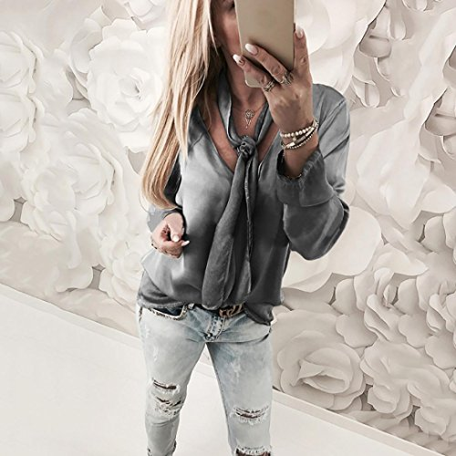 Chemise Femme,Manadlian Tuniques Femmes Tops Manches Longues Col en V Solid Lace Design Blouse Gris