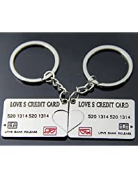 KitMax (TM) Pack Of 6 Pairs Novelty Cute Love Credit Card Keychain Key Ring For Couples Lovers