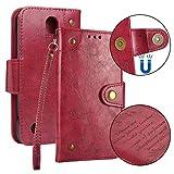 Cozy Hut LG K4 2017 Hülle Handyhülle [Premium Leder] [Standfunktion] [Kartenfach] [Magnetverschluss] Schlanke Leder Brieftasche Hülle für LG K4 2017 - Vintage rot
