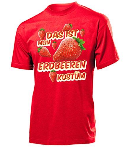 Erdbeeren Kostüm Herren T-Shirt Erdbeerenkostüm Obstkostüme 1719 Karneval Fasching Faschingskostüm Karnevalskostüm Paarkostüm Gruppenkostüm Rot ()