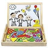Magnetisches Holzpuzzles Puzzles Zeichnung Holzbrett Spielzeug Lernspielzeug Staffelei Doodle Lernspiel Spiel Schule Stil Muster für Kinder Jungs Mädchen 3 4 5 Jahren Alt