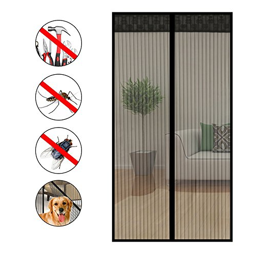 Nclon Magnet fliegengitter tür Klebemontage Full-frame,Fliegenvorhang moskitonetz magnetvorhang Zum insektenschutz Automatisches schließen Punch-frei-A 180x220cm(71x87inch)