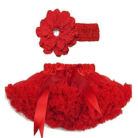 Buenos Ninos Pettiskirt Set Girls Tutu Petticoat Pettiskirts and Daisy Hair Clip (1-2T, Red)