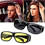#8: Panzl Pack Of 2 Day & Night Hd Vision Goggles Anti-Glare Polarized Uv Protected Rectangular Unisex Sunglasses