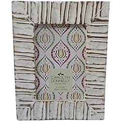 """Marco decorativo de la foto madera tallada a mano material del mdf 6 """"x 4"""" estilo antiguo de la raya tabla blanca del cuadro del topper de la familia cuadro artículo interior del regalo"""