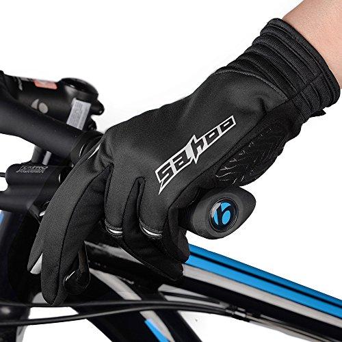 Winter Radfahren Handschuhe, Winddicht Smartphone Touchscreen Schock Beweis EVA Pad Rutschfeste Silikon Handschuhe w Klettverschluss Vollfinger Fahrrad Motorrad Outdoor - 2