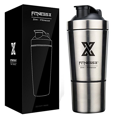 FITNESSX 700 ml + 200 ml Fitness Edelstahl Protein Shaker eiweiß