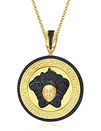 "Silvernshine 1.25 Ct Round Cut Black Versa Pendant 18"" Chain 14K Yellow Gold Over 925 Silver"