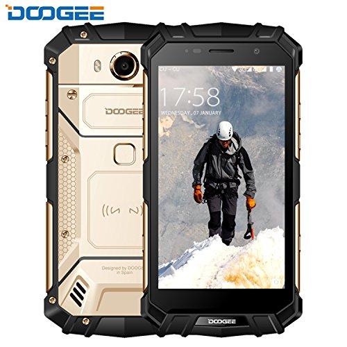 DOOGEE S60 IP68 Smartphone libre - Impermeable Antipolvo Antigolpes 4G Android 7.0 Nougat Rugged Móvil libre, 5.2'HD, Helio P25 Octa-core, 6GB RAM+64GB ROM, Cámara de 8MP/21.0MP, Batería 5580mAh - Oro