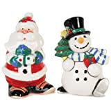 Fitz And Floyd Merry And Bright Santa And Snowman Salt And Pepper Set