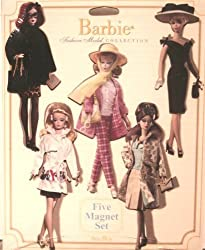 Mattel Barbie Fashion Model Collection 5 Magnet Set - Barbie Magnet .